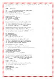 English Worksheets: Mine, by Taylor Swift
