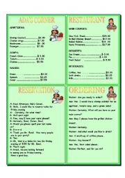 RESTAURANT ROLEPLAY AND ACTIVITY WORKSHEETS