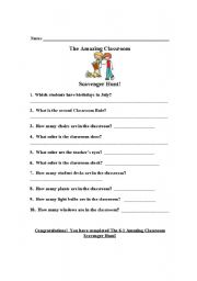 English Worksheet: Classroom Scavenger Hunt
