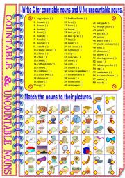 English Worksheets: Countable and Uncountable Nouns ** fully editable