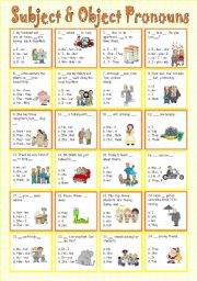 English Worksheet: Subject & Object Pronouns