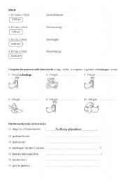 English Worksheet: Muzzy in Gondoland, Level 1, Part 1, b
