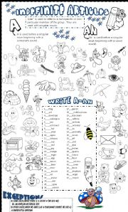 English Worksheet: a-an