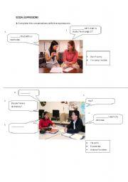 English Worksheets: Social expressions
