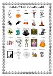 english worksheet halloween vocabulary - Halloween Vocab Words