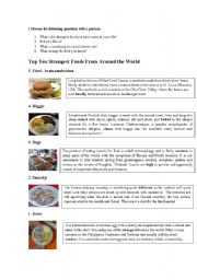 English Worksheet: Strange food around the world