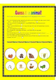 English Worksheets: Guess the animsl