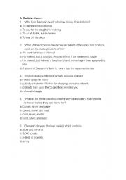 English Worksheets: The merchant of venice exercise