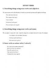 English Worksheets: sense verbs