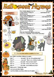 English Worksheet: HALLOWEEN RHYMES