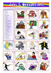 English Worksheet: Jobs & Occupations - matching and writing [2 pages] +++fully editable