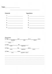English worksheets: Recipe Writing template
