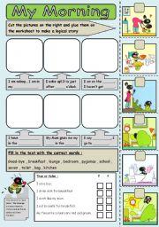 English Worksheets: morning routine