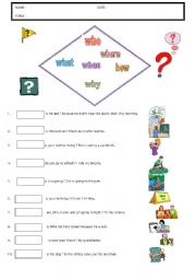English Worksheets: QUESTION WORDS WHAT WHEN WHERE WHY HOW WHO