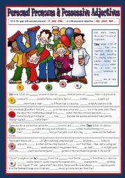 English Worksheet: Personal Pronouns & Possessive Adjectives
