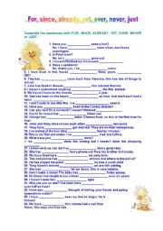 English Worksheet: for-since-already-yet-ever-never-just
