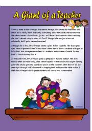 English Worksheets: �A giant of a Teacher / Reading Comprehension