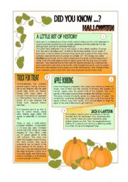 English Worksheets: Did you know.... HALLOWEEN.