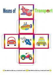 English Worksheet: Means of Transport  -  3 different Dice
