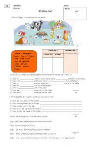 English Worksheet: Much/ many . Written test