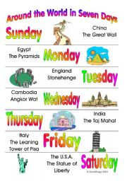 Nice English Worksheet: Around The World In Seven Days: 3 Different Activity  Cards