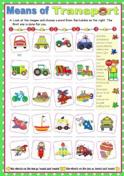 English Worksheet: Means of Transport  -  Matching ex.