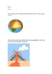 English Worksheet: volcano parts