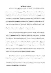 English Worksheets: The Hawaiian Language