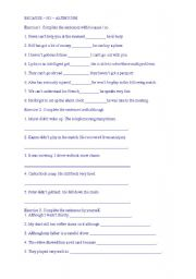 English Worksheets: so , altough , because