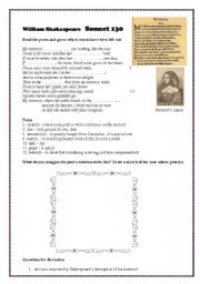 Worksheet Sonnet Worksheet english worksheet sonnet 130