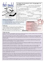 English Worksheet: a ghost story (past tenses)