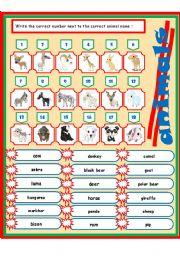 English Worksheets: animals 1-3 (match)