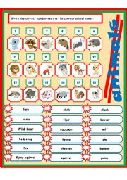 English Worksheets: animals 2-3 (match)