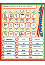 English Worksheets: animals 3-3 (match)