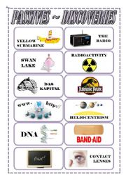 English Worksheet: Passives Flashcards Pt. 2/2 - Inventions/Discoveries/Creations