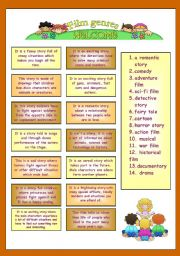 English Worksheet: TYPES OF FILMS description