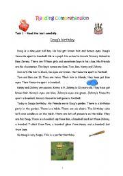 English Worksheet: Reading comprehension - Doug�s birthday