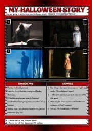 English Worksheet: My Halloween story