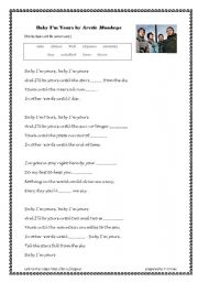 English worksheet: Baby I´m Yours Song Exercise