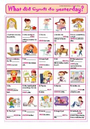 English Worksheet: WHAT DID CYNDI DO YESTERDAY? - PiCtUrE sToRy!