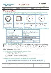 English Worksheet: Mid-Term Test for 7th form Tunisian Students