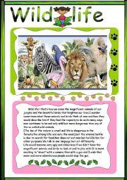 English Worksheet: Wild life