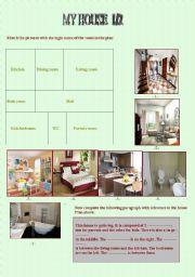 English worksheet: My house 1/2