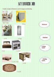 English worksheet: My house 2/2