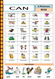English Worksheets: Actions : Can ( ability)
