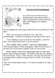 The ant and the grasshopper: Reading and Activities
