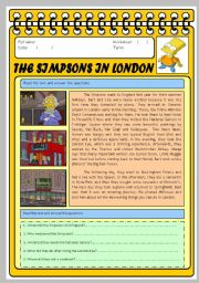 English Worksheets: THE SIMPSONS IN LONDON. ACTIVITIES WITH KEY