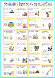 English Worksheet: Possessive pronouns or Possessive adjectives