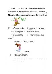 English Worksheets: write the sentence in Affirmative Sentence, Question , Negative Sentence and answer the questions .