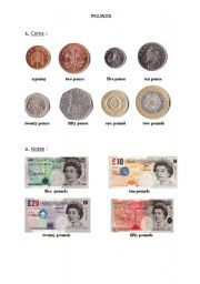 English Worksheet: The pound. Coins and notes